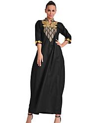 Women's Daily Kaftan Dress,Embroidered Crew Neck Maxi Half Sleeves Cotton Spring Mid Rise Inelastic Medium