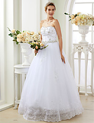 Ball Gown Sweetheart Floor Length Lace Tulle Wedding Dress with Appliques Crystal Detailing by LAN TING BRIDE®