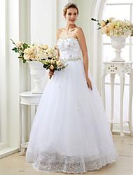 Robe de Soirée Coeur Longueur Sol Dentelle Tulle Robe de mariée avec Appliques Détail Cristal par LAN TING BRIDE®