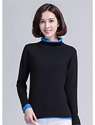 Normal Pullover Femme Décontracté / Quotidien Couleur Pleine Col Roulé Manches Longues Nylon Hiver Moyen Micro-élastique
