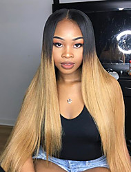 cheap -Human Hair Full Lace / Glueless Full Lace Wig Straight 130% Density Ombre Hair / Natural Hairline / African American Wig Women's Short / Medium Length / Long Human Hair Lace Wig / 100% Hand Tied