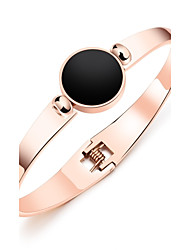 cheap -South Korean edition of 18K rose gold black round cake spring with titanium bracelet gold bracelet ring jewelry gift