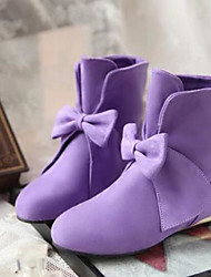 Women's Shoes PU Fall Winter Comfort Boots For Casual Beige Purple Red Blue Orange/Black