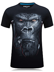 cheap -Men's Sports Casual Active Plus Size Cotton Slim T-shirt - Animal Round Neck
