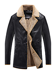 cheap -Men's Daily Club Plus Size Simple Vintage Casual Winter Fall Leather Jacket,Solid V Neck Long Sleeve Regular Faux Fur PU