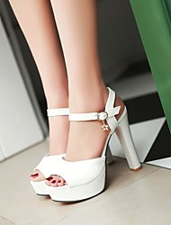 Women's Shoes PU Summer Comfort Heels Chunky Heel Round Toe For Casual White Light Purple Blue