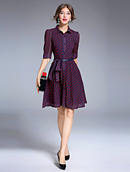 cheap -8CFAMILY Women's Party Daily Going out Casual Street chic A Line Dress,Plaid Shirt Collar Above Knee Half Sleeves Polyester Spandex Winter Fall