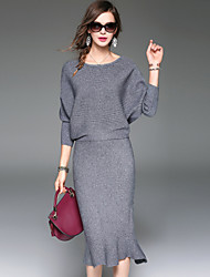 cheap -YHSP Women's Daily Going out Casual Street chic Sophisticated Winter Fall T-shirt Skirt Suits,Solid Round Neck ¾ Sleeve Polyester Micro-elastic