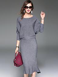 Feminino Camiseta Saia Conjuntos Para Noite Casual Simples Moda de Rua Sofisticado Inverno Outono,Sólido Poliéster Decote Redondo