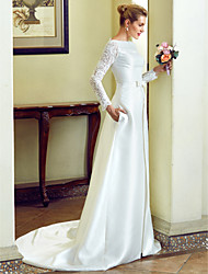 A-Line Mermaid / Trumpet Bateau Neck Court Train Lace Satin Wedding Dress with Bow(s) Buttons Pockets by LAN TING BRIDE®