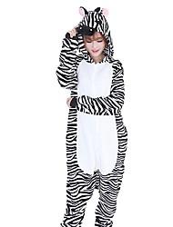 Kigurumi Pajamas Zebra Festival/Holiday Animal Sleepwear Halloween Fashion Stripes Embroidered Flannel Fabric Cosplay Costumes Kigurumi