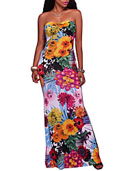cheap -Women's Party Holiday Going out Vintage Sexy Boho Bodycon Dress,Floral Strapless Maxi Sleeveless Polyester Spring Summer High Rise