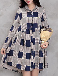 cheap -Women's Daily Going out Cute Sexy A Line Sheath Dress,Solid Striped Geometric Shirt Collar Above Knee Long Sleeves Cotton Acrylic Spring