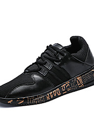 cheap -Men's Athletic Shoes Comfort Fall Winter Breathable Mesh Tulle Fabric Cycling Shoes Athletic Outdoor Lace-up Flat Heel Gold White Black