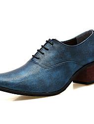 abordables -Hombre Zapatos Cuero Primavera Otoño Confort Zapatos formales Oxfords Banda Para Casual Fiesta y Noche Negro Plata Azul Borgoña