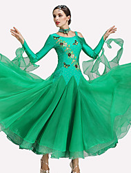cheap -Ballroom Dance Dresses Women's Performance Spandex Polyester 2 Pieces Long Sleeve Dresses / Neckwear
