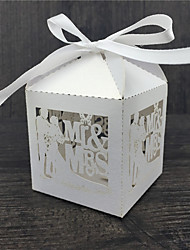 cheap -Cubic Pearl Paper Favor Holder With Ribbons Favor Boxes-50