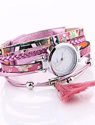 baratos -Mulheres Único Criativo relógio Relógio de Moda Bracele Relógio Chinês Quartzo PU Banda Elegant Preta Azul Laranja Marrom Verde Rosa