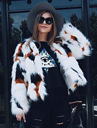 Women's Daily Going out Work Simple Casual Active Winter Fall Fur Coat,Print Round Neck Long Sleeve Regular Faux Fur