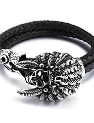 cheap -Men's Bracelet Fashion Personalized Hip-Hop Handmade Simple Style Costume Jewelry Titanium Steel PU Circle Geometric Jewelry Jewelry For