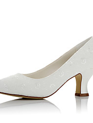 cheap -Women's Shoes Satin Fall / Winter Comfort Wedding Shoes Chunky Heel Round Toe for Wedding / Party & Evening Ivory