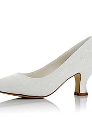 abordables -Femme Chaussures Satin Automne / Hiver Confort Chaussures de mariage Talon Bottier Bout rond Ivoire / Mariage / Soirée & Evénement