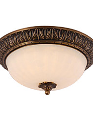 Traditional Classic Brass 2 Light Indoor Flush Mount Ceiling Fixture from the Plantation Collection