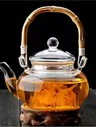 cheap -500Ml Bamboo Handle High Borosilicate Glass Teapot Drinkware