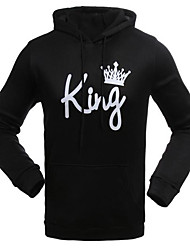 cheap -Men's Daily Casual Hoodie Solid Print Letter Hooded Micro-elastic Cotton Polyester Long Sleeve Fall