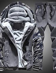 Men's Plus Size Sports Vintage Set Color Block Hooded Micro-elastic Cotton Long Sleeve Summer Fall
