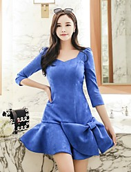 DABUWAWA Women's Party Going out Sexy Vintage Simple Skater DressSolid Letter Asymmetrical Mini 3/4 Length Sleeves Polyester Spandex Spring Fall