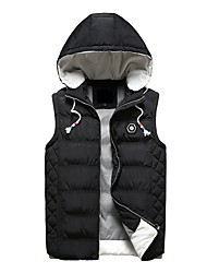 cheap -Men's Regular Down Coat,Casual Daily Solid Striped-Polyester Polypropylene Sleeveless