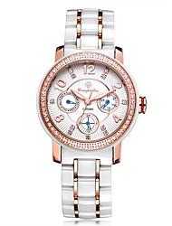 Недорогие -Жен. Нарядные часы Модные часы Наручные часы Китайский Кварцевый Крупный циферблат Позолоченное розовым золотом Керамика Группа Блестящие