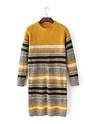 Недорогие -Для женщин На выход На каждый день Простой Очаровательный Длинный Пуловер Полоски Контрастных цветов,Круглый вырез Длинный рукав Шерсть