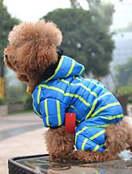 economico -Cane Cappottini Tuta Piumini Abbigliamento per cani Caldo Traspirante Casual Rigato Blu Rosa Costume Per animali domestici