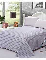 Comfortable Poly/Cotton Flat Sheet Stripe