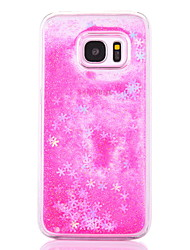 cheap -Case For Samsung Galaxy S7 Edge S7 Case Cover Snowflake Pattern Flowing Liquid Glitter PC Materia Phone Case S6 Edge S6 S5