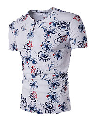 Men's Casual/Daily Simple Summer T-shirt,Solid Print V Neck Short Sleeves Linen