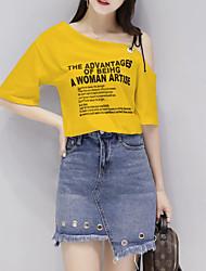 preiswerte -Damen T-shirt - Solide Buchstabe & Nummer Ein-Schulter Rock