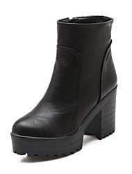 Women's Boots Fashion Boots Winter Leatherette Casual Dress Zipper Chunky Heel Black Gray Yellow 3in-3 3/4in