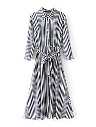Camicia Vestito Da donna-Per uscire Casual Semplice Moda città A strisce Colletto Medio Manica lunga Altro Primavera Autunno A vita