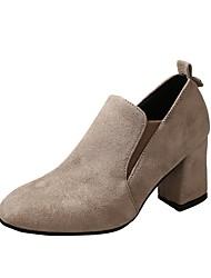 Women's Heel Basic Pump Fall Winter Cowhide Casual Dress Beige Black 1in-1 3/4in