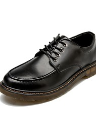 Men's Oxfords Comfort Spring Summer Fall Winter Cowhide Casual Office & Career Lace-up Low Heel Black Brown Under 1in