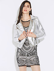 cheap -Women's Party Going out Casual Sexy Spring Fall Leather Jacket