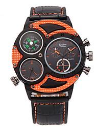Oulm Pánské Vojenské hodinky Náramkové hodinky Křemenný Hodinky s trojitým časem PU Kapela Cool Běžné nošení Černá