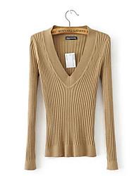 preiswerte -Damen Ausgehen Street Schick Baumwolle Langarm Pullover - Solide V-Ausschnitt