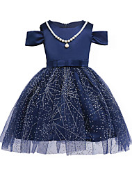 cheap -Girl's Solid Dress,Cotton Polyester Summer Short Sleeve Lace Blue