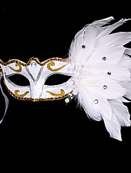 cheap -1PC Small Hat Hair Band For Halloween Costume Party The Flat Gold Silver Masquerade Mask Feather Painting Mask