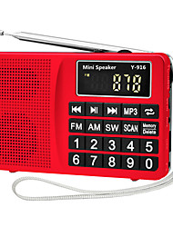 cheap -Y-916 FM AM Portable Radio MP3 Player TF CardWorld ReceiverGold Black Silver Red Blue