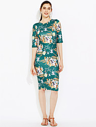 Party Formal Work Vintage Street chic Bodycon Sheath Dress,Floral Round Neck Midi Polyester All Seasons High Rise Micro-elastic Thin
